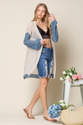 Blue Sleeve Cardigan  Only 1 S Left!!