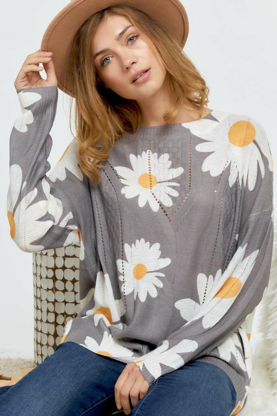 Daisy Sweater Lightweight!!  Only 3X to 1X Left!!