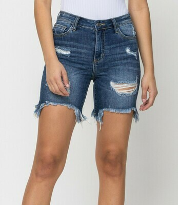 Destroyed Bermuda Frayed Shorts  L to S