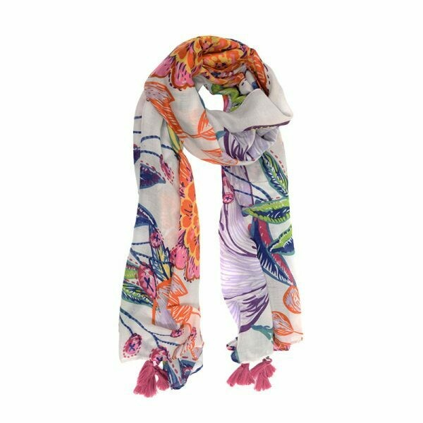 Bright Botanical Tassel Scarf