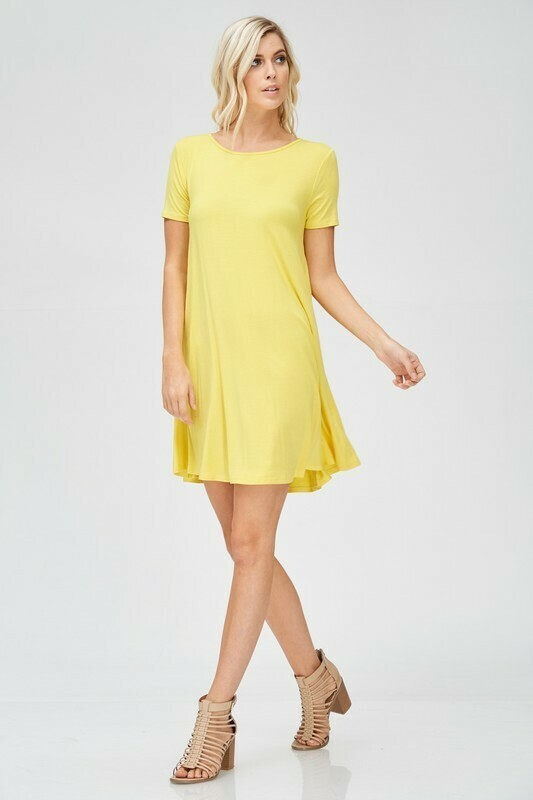 Scoop Neck Short Sleeve Dress - 3X to S!!
