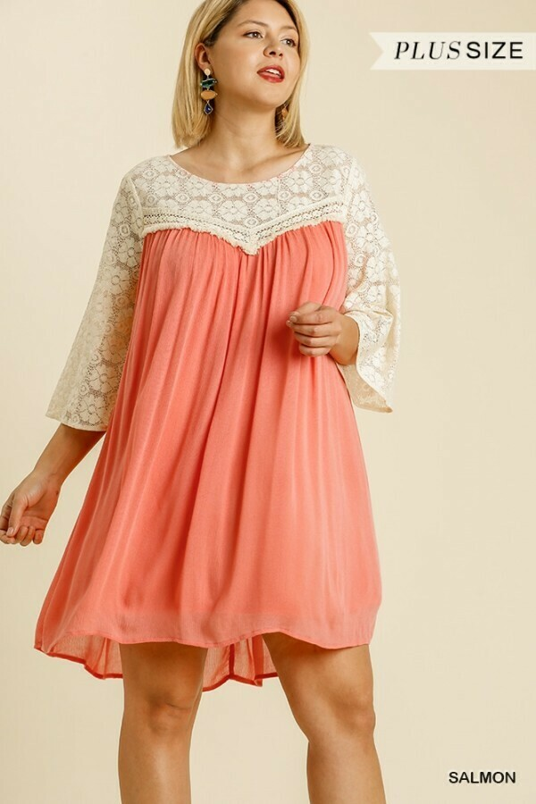 Floral Lace 3/4 Sleeve Dress - So Cute!! UMGEE!  2XL to XL Only!