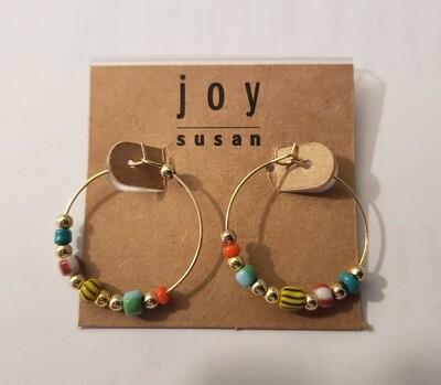 Multi Bead Hoop Gold Earrings