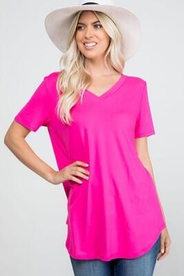 V Neck Short Sleeve Top - Super Soft!! 3X to S!!