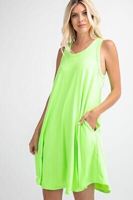 Sleeveless Neon Dress  3X to S!!   So soft!!!