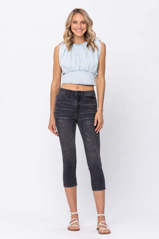 Judy Blue HW Skinny Capri  Grey!   20W to Size 3!!