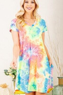 Tie Dye Short Sleeve Dress 3X to S!!  So Soft!!!