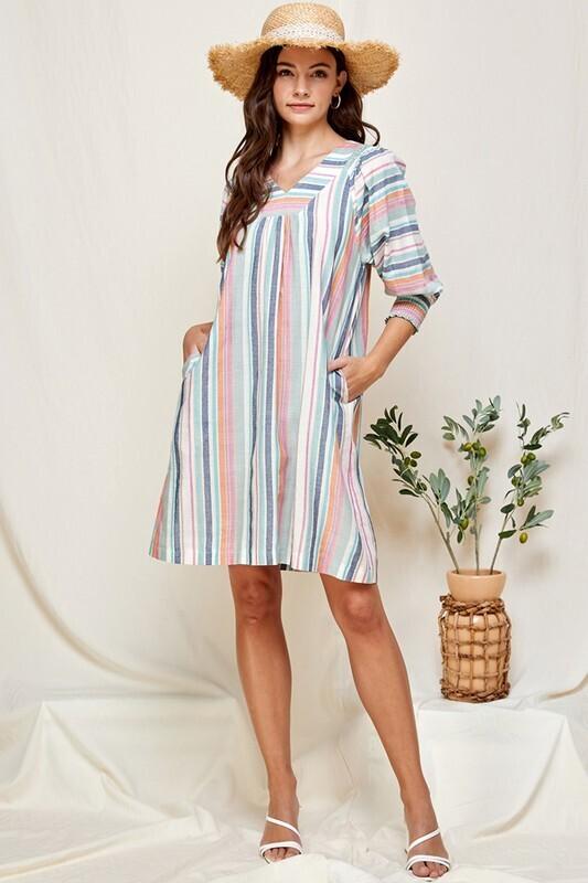 Stripe Balloon Sleeve Dress w/ Pockets!!  L to S!!
