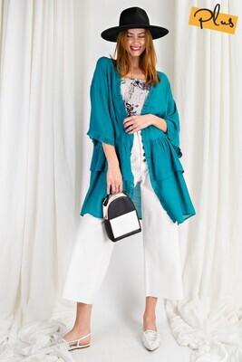 Double Ruffle Kimono  3X to S!!!