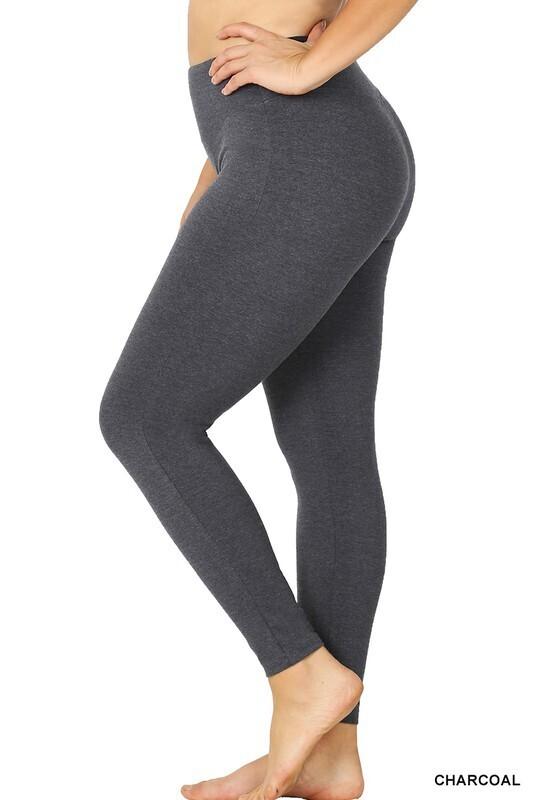 High Waist Long Cotton Leggings  3X to S!  Multiple Colors!