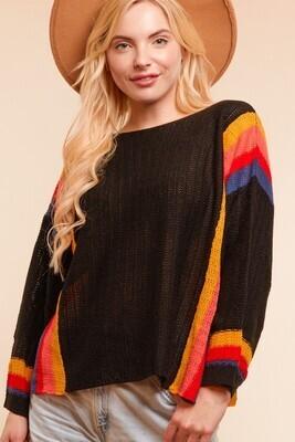 Bohemian Style Multi Stripe Sweater