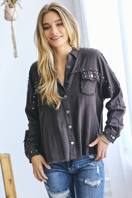 Studded Button Down Shirt - Large to Small!!
