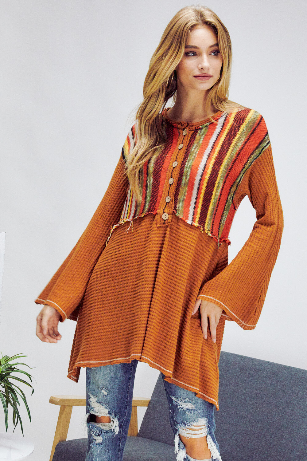 Hippie Bell Sleeve Top - L to S