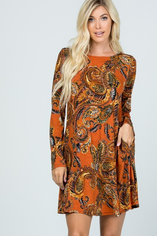 Paisley Dress  with Pockets - 3x to Small!