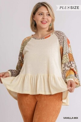 Mixed Print Long Sleeve with Ruffle Hem 2X to M Only Left!!