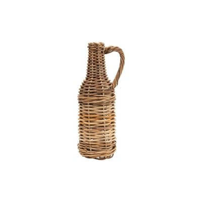 Woven Rattan Jug with Glass Bottle