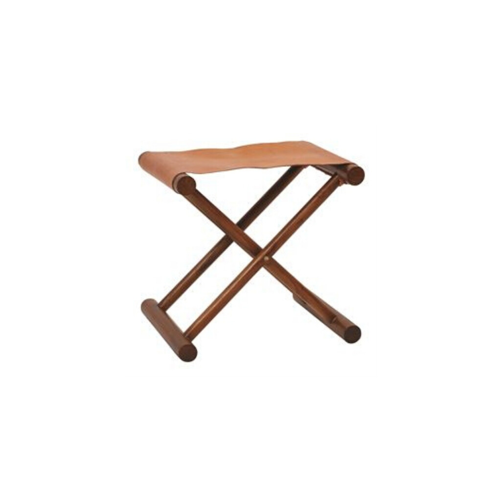 Teak Folding Leather Stool
