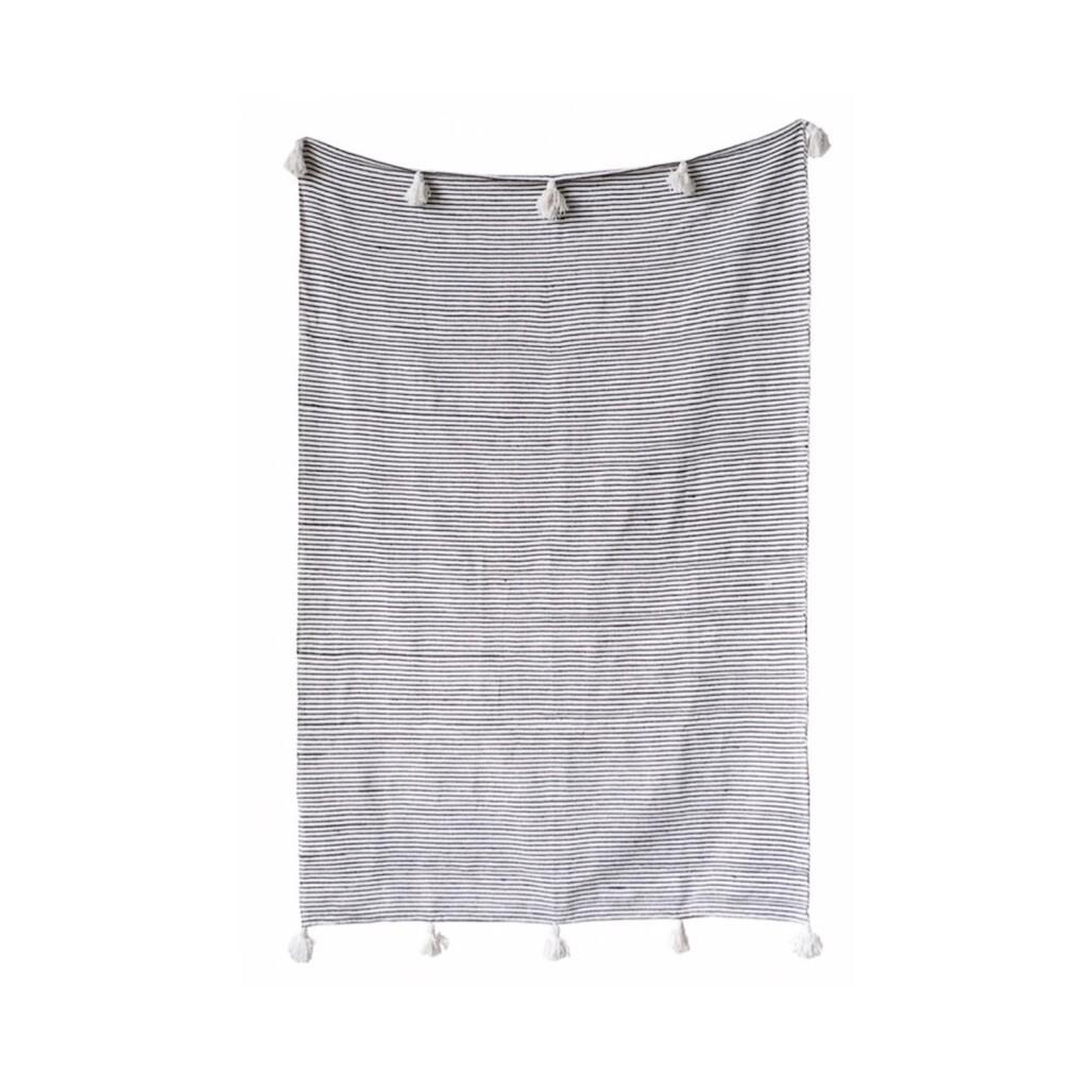 Woven Thin Moroccan Striped Cotton Throw - Black