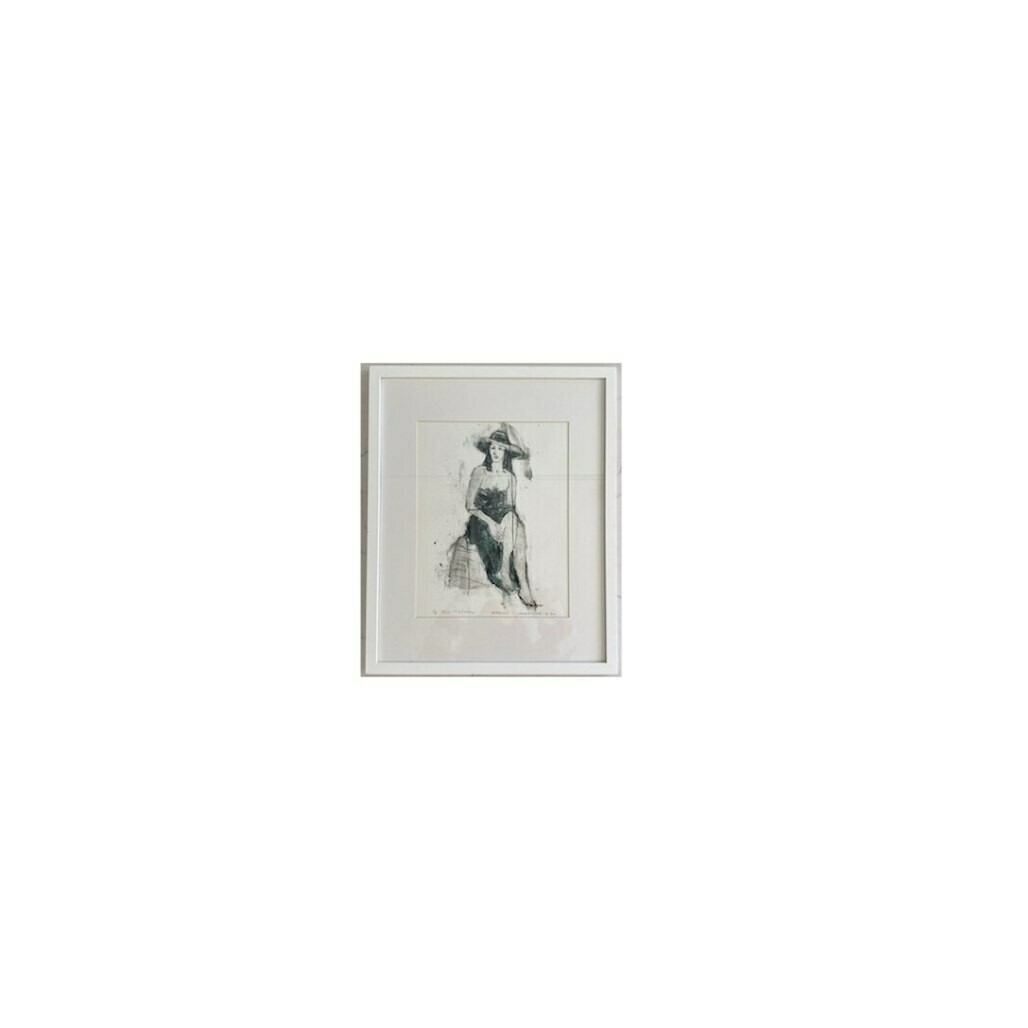 Lady in a Sun Hat Vintage Framed Art - 17
