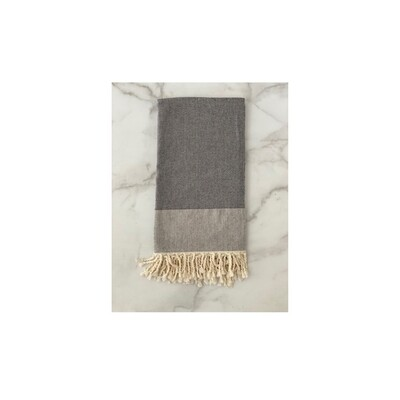 Herringbone Turkish Bath Towel - Black