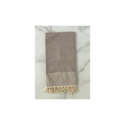 Herringbone Turkish Bath Towel - Grey