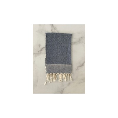 Herringbone Turkish Hand Towel - Navy