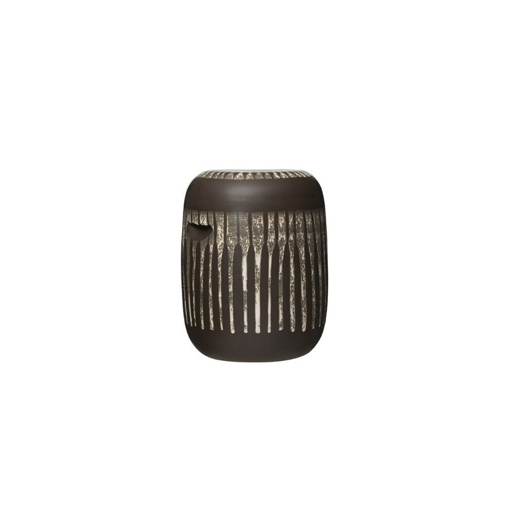 Round Reactive Glaze stoneware side table/stool