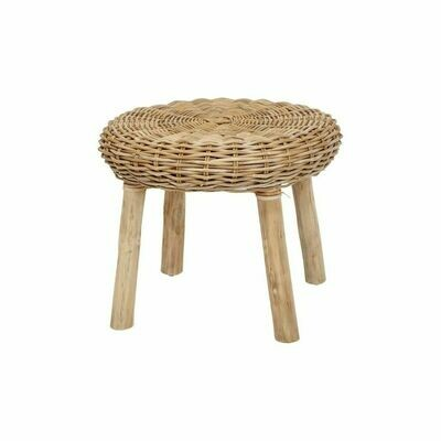 Round Hand Woven Rattan Stool w/  Wood Legs