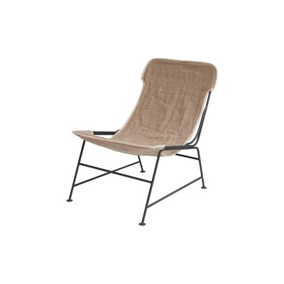 Linen Reclined Sling Chair w/ Metal Frame