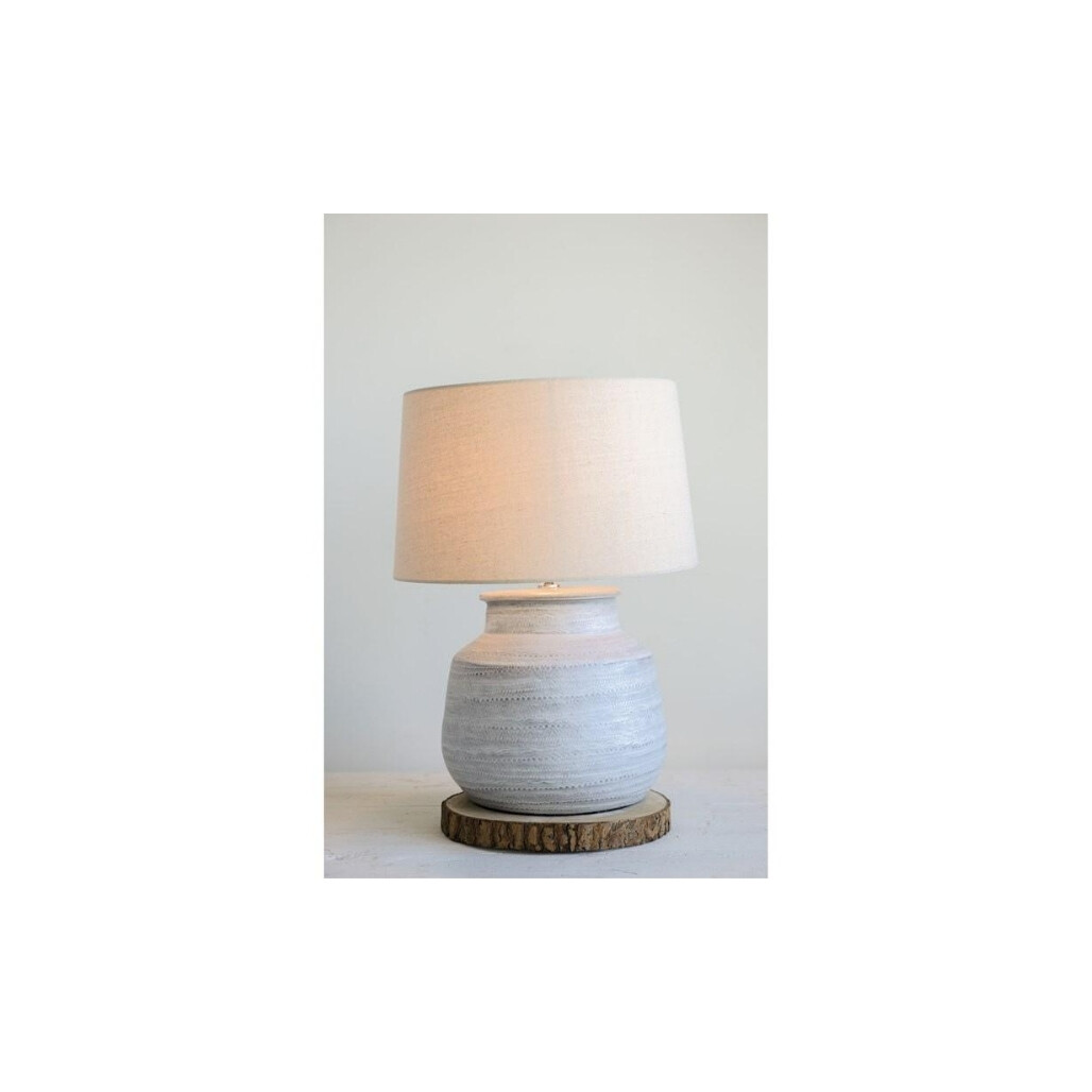 Round Ceramic Grey Table Lamp w/ Natural Shade