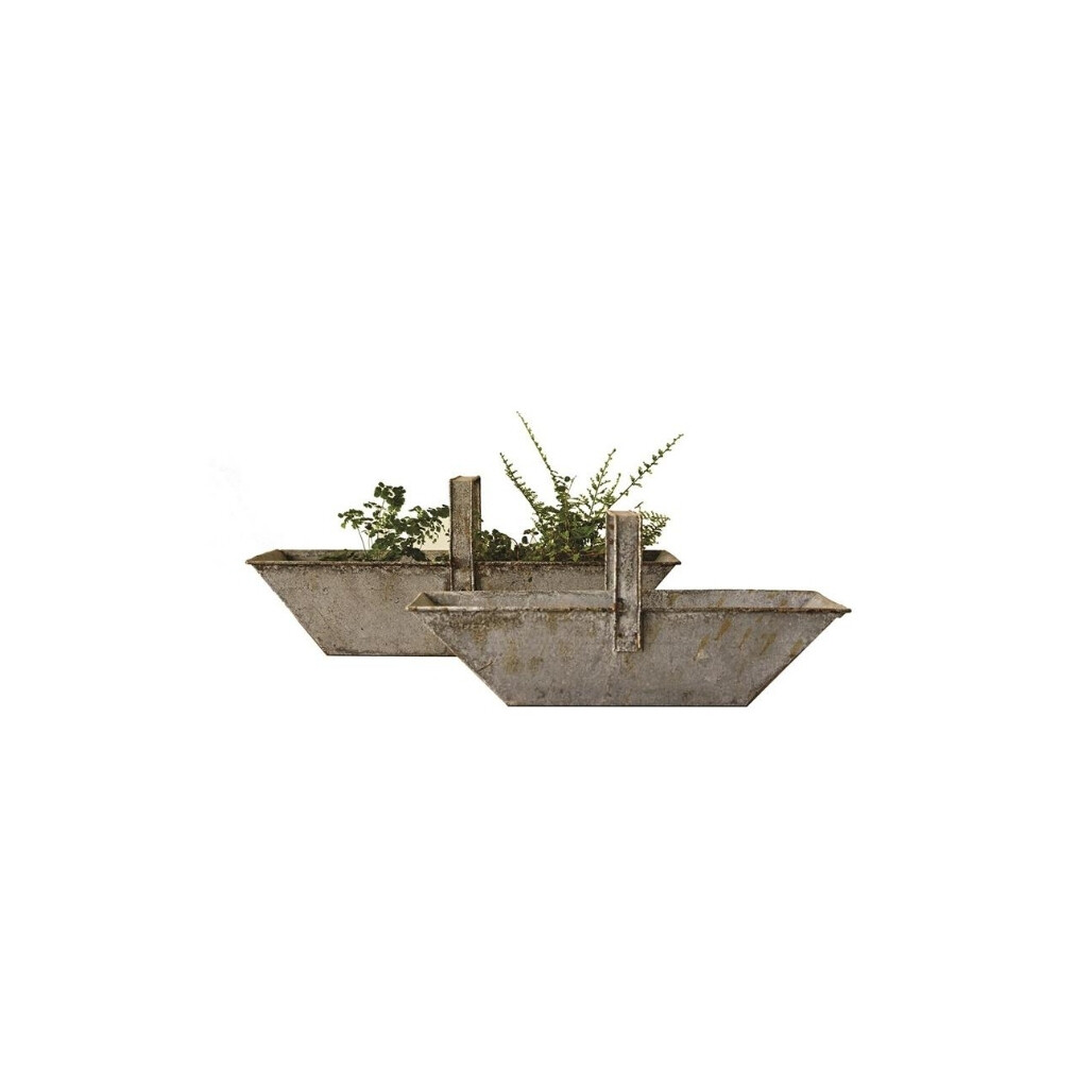 Set of 2 Distressed Metal Basket with Handle -
