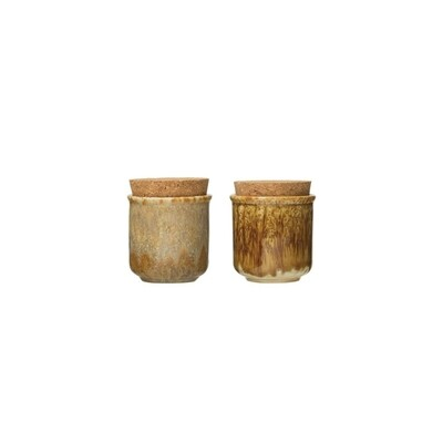 Reactive Glaze Stoneware Jar w/ Cork Lid