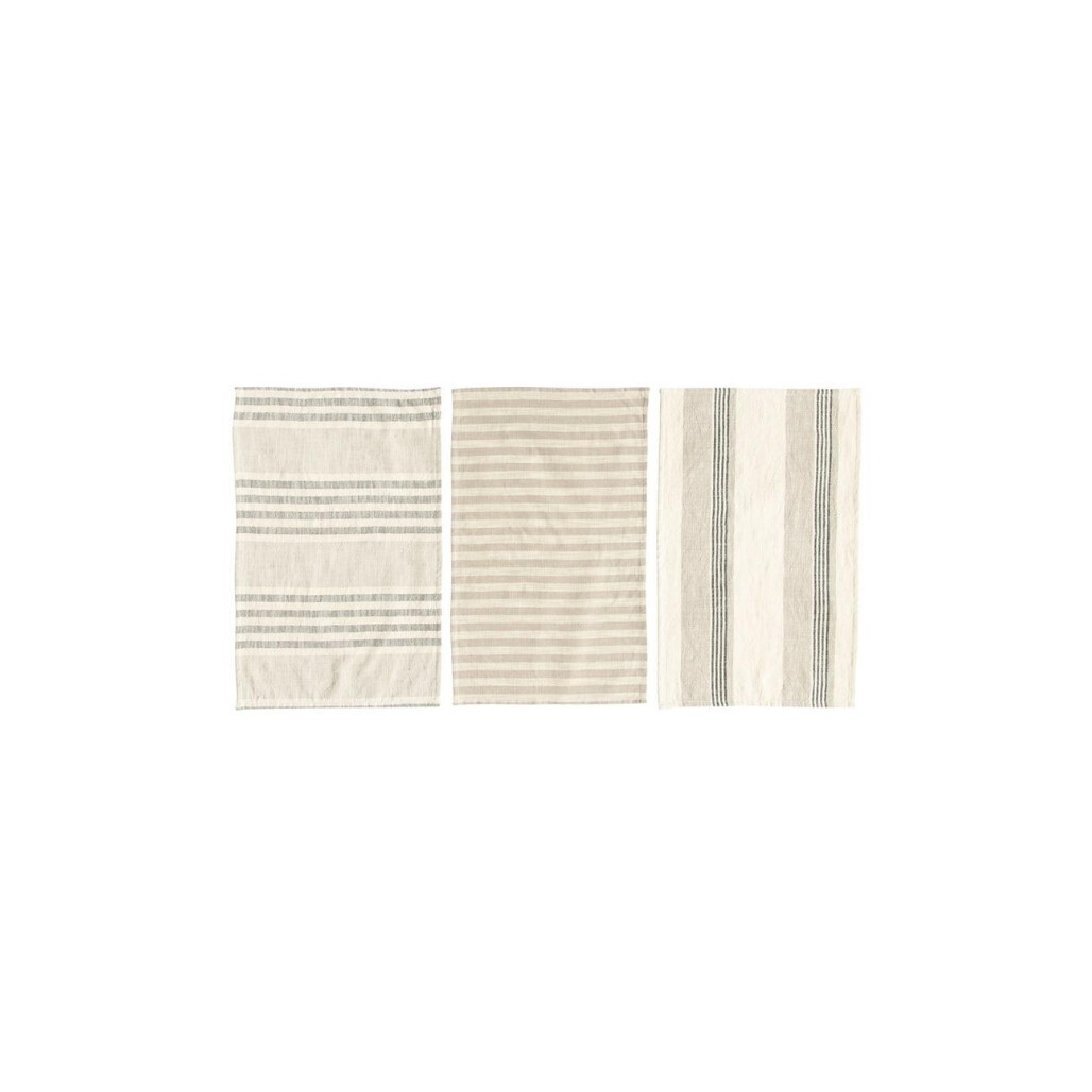 Woven Cotton Striped Tea Towels  Set of 2