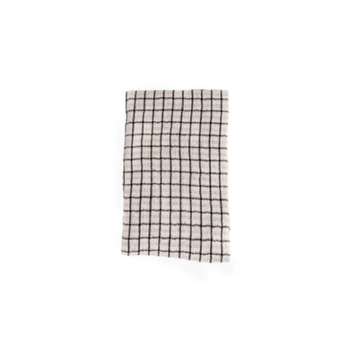Set of 2 Grid & Stripe Black Cotton Tea Towel