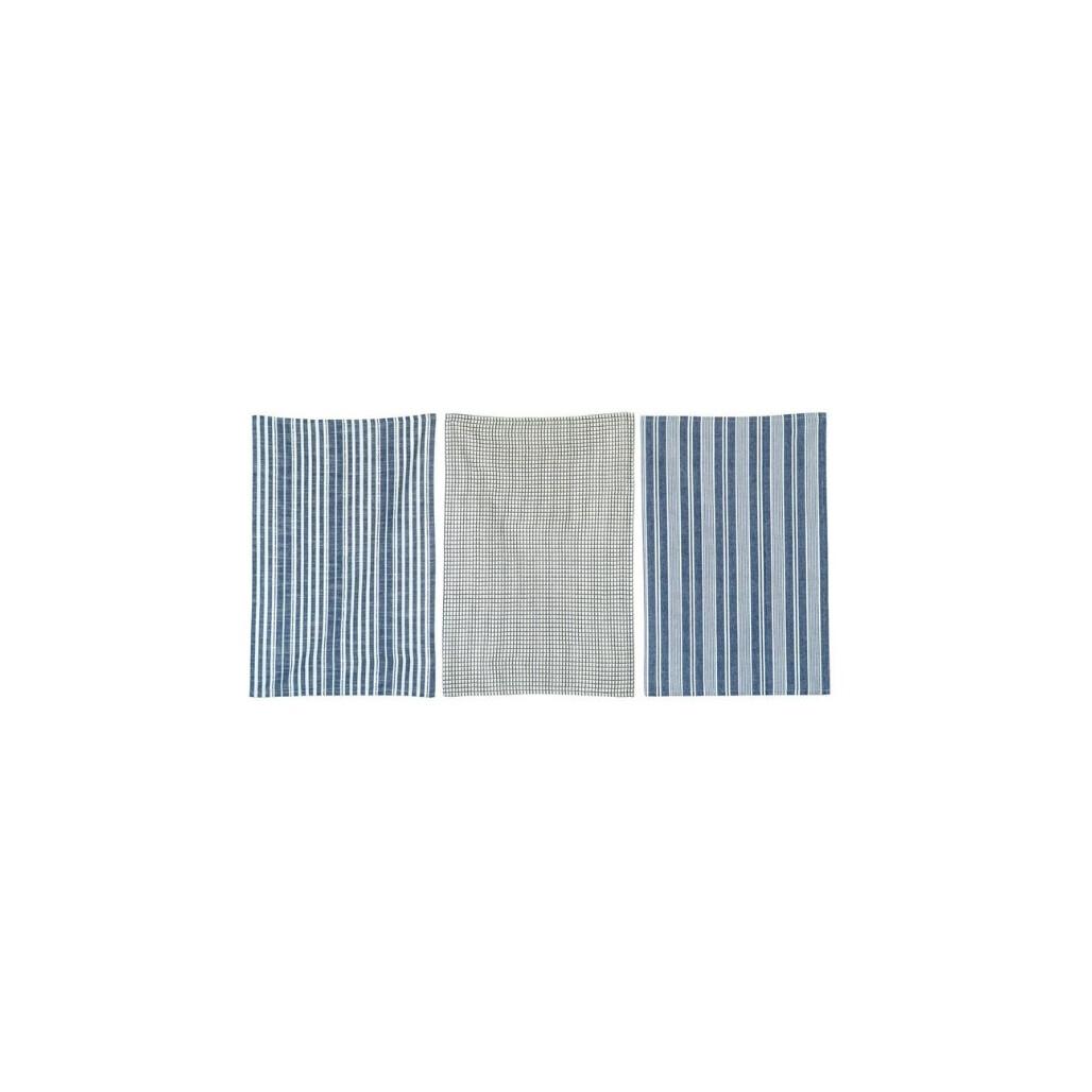 Set of 3 Grid & Stripe Blue Cotton Tea Towels