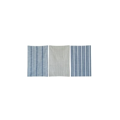 Set of 3 Grid & Stripe Blue Cotton Tea Towels