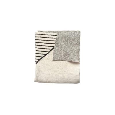 cotton knit throw - cream & black w/ pattern