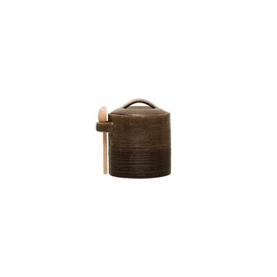 Reactive Glaze Jar w/ Wood Spoon