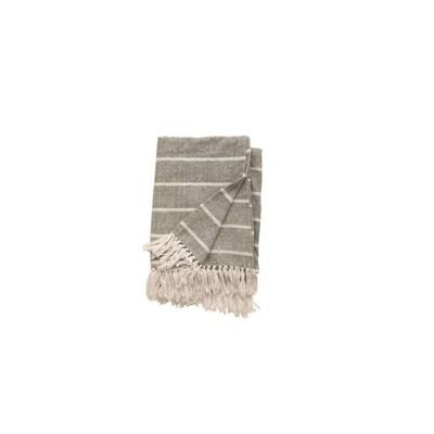 Grey w/ White Stripes Throw