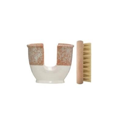 Stoneware Brush Holder + Beech Brush Set