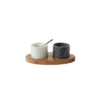 Black & White Marble Pinch Pot Duo