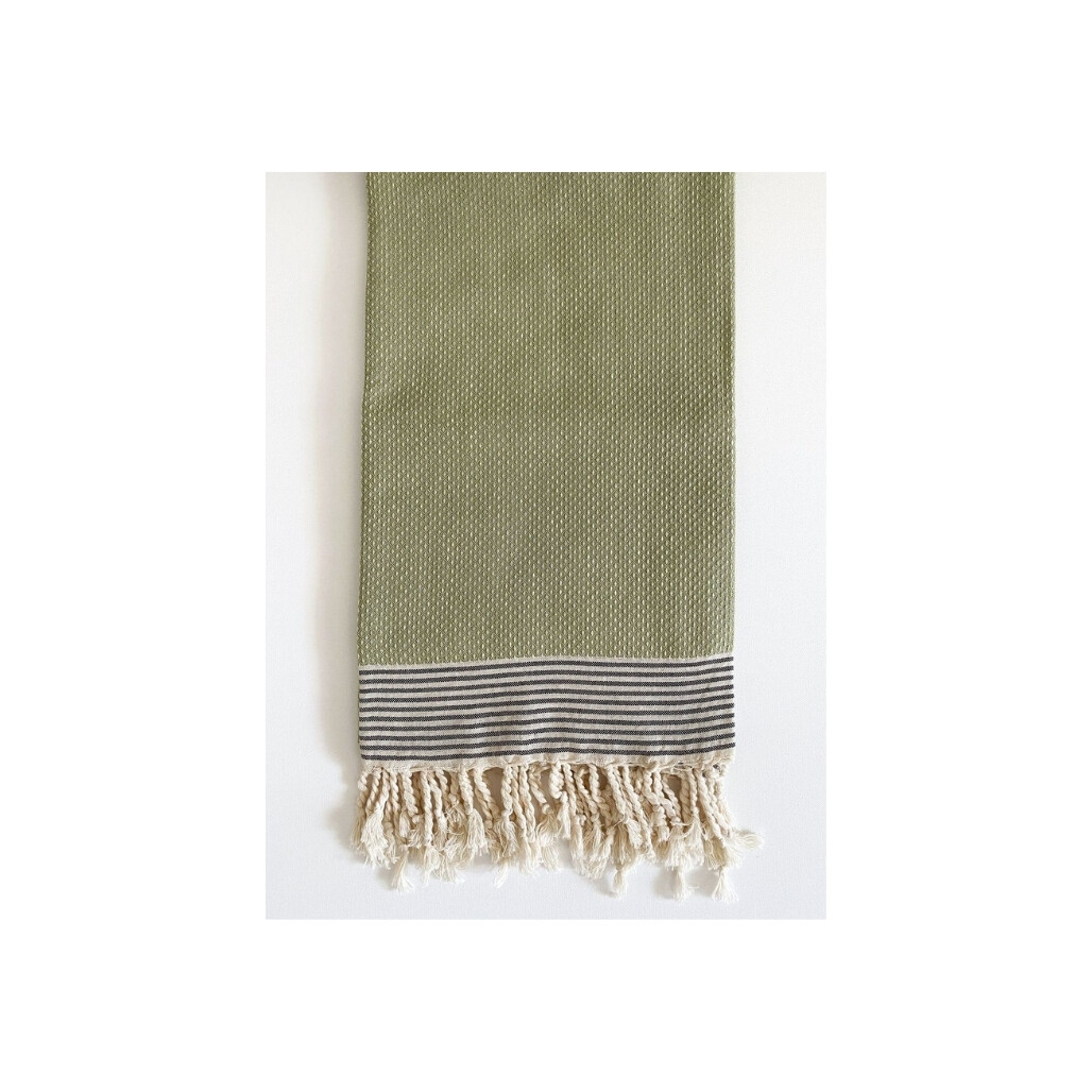 Sage Dot Weave Turkish Bath Towel