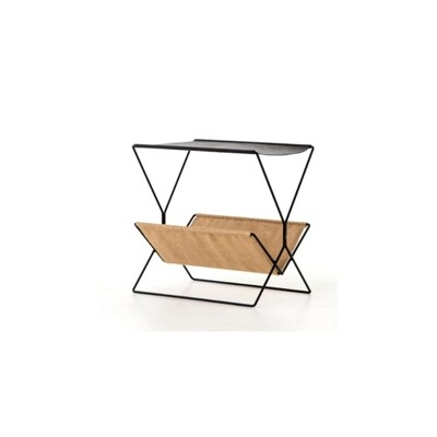 Raye Leather Side Table + Magazine Rack