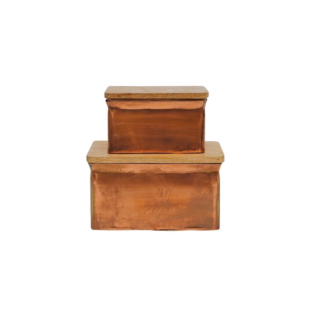 Copper Finish Box w/ Wood Lid