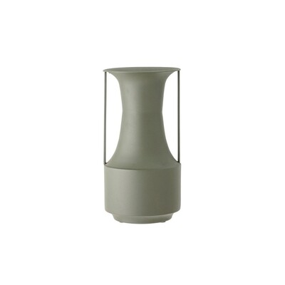Matte Forest Green Metal Vase