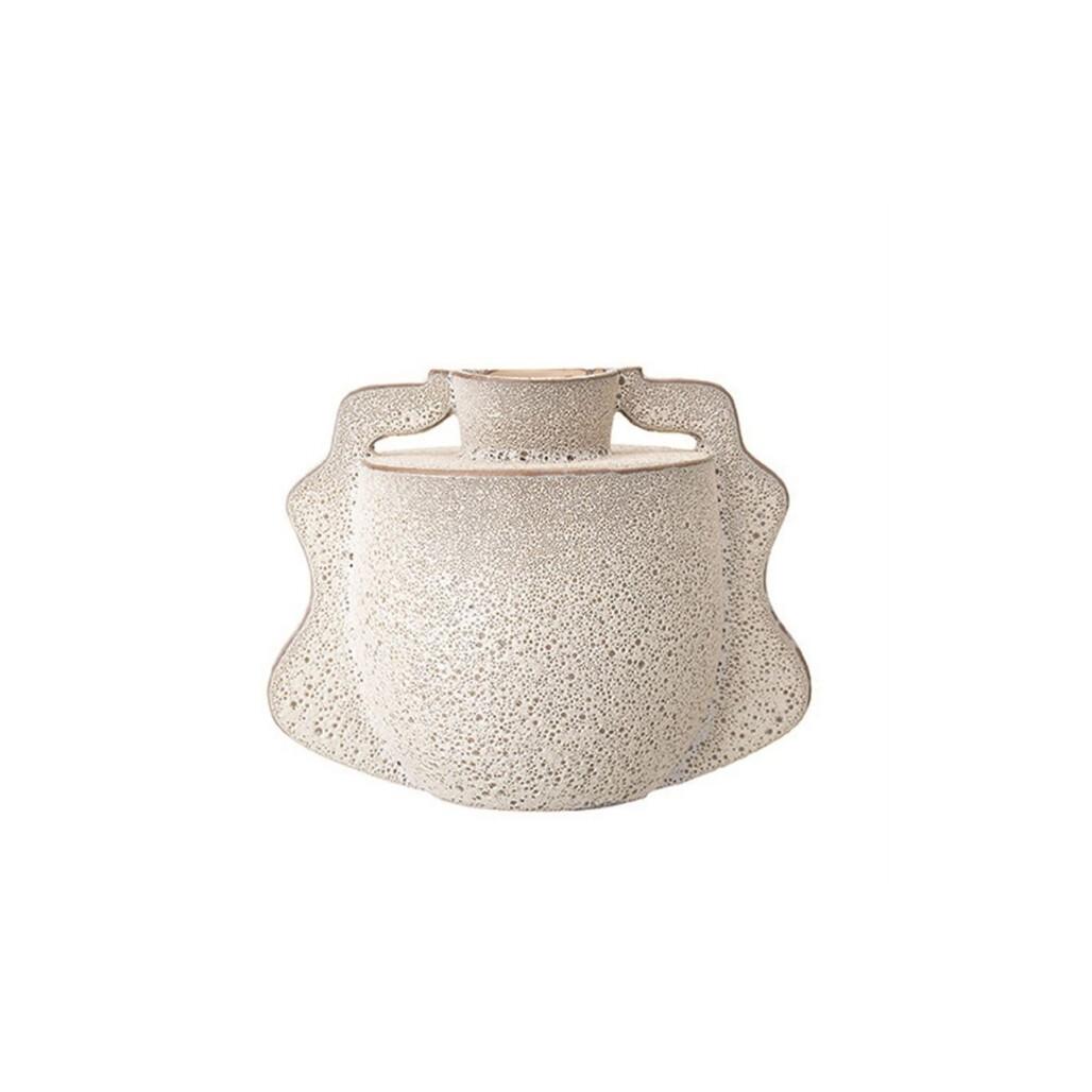 Winged White Stoneware Vase