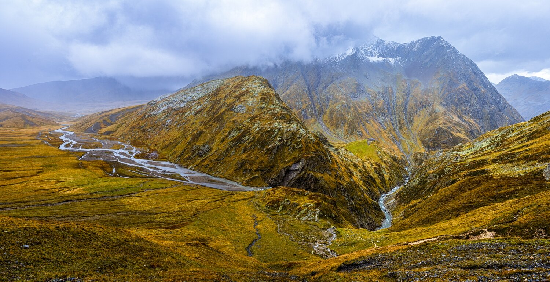 Greina Hochebene vom Pass Diesrut, Herbst, Gesamt Ansicht