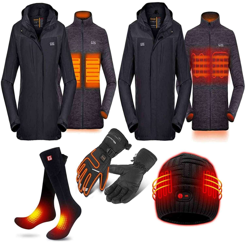 2019 New Mens 3-in-1 Heated Jacket with Battery Pack, Ski Jacket Winter Jacket with Removable Hood Waterproof Venustas