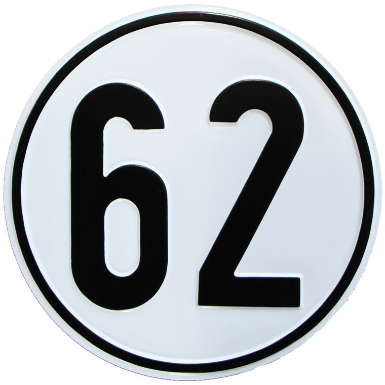 Geschwindigkeitsschild 62 km/h