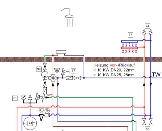 Stufe 2, detaillierte Muster Planung einer Wärmepumpe mit der Energie aus einer Beton-Bodenplatte